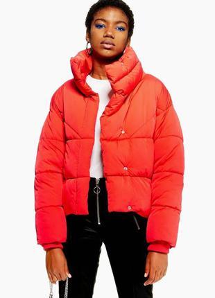 Курточка крассная topshop дутик оверсайз демисезонная размер m- l