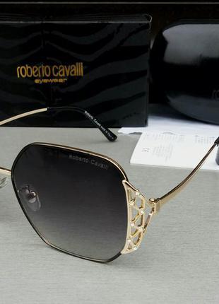Roberto cavalli очки женские солнцезащитные темно серый градиент в золоте