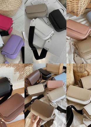 Новый базовый клатч сумка месенджер на широком ремешке сумочка