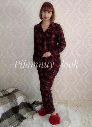 Женская теплая пижама. женская пижама в клетеку