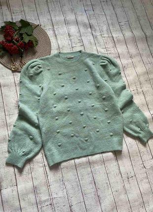 Мятный мягенький свитер в пупырышек