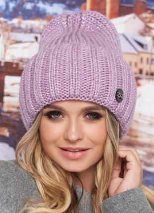 Модная зимняя шапка бини сирень