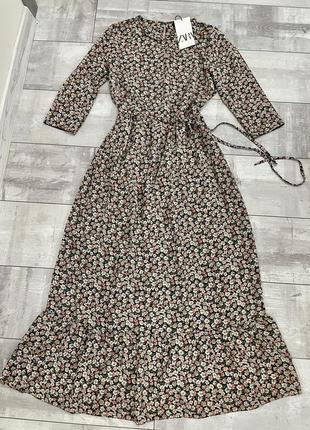 Цветочное платье миди zara