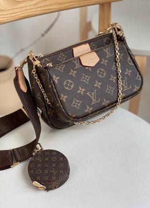 Женская коричневая кожаная сумочка в стиле louis vuittone