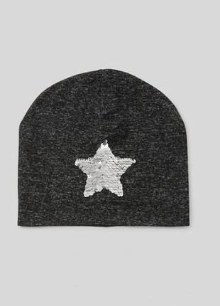 ✪ шапка женская c&a (кунда) с пайетками р.158-176 демисезонная ✪
