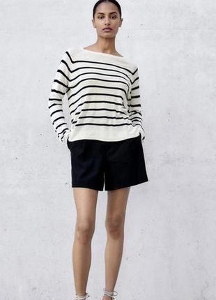 Лёгкий свитер в полоску пуловер zara в наличии размер м