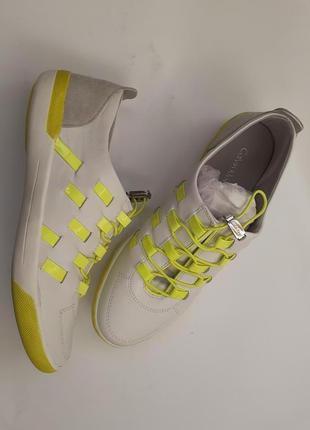 Calvin klein кожаные кроссовки, сникерсы, кеды, белые, яркие, оригинал