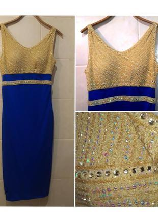 Нереально красивое платье в единственном экземпляре, в паетках, камушках, бисере / ручная работа