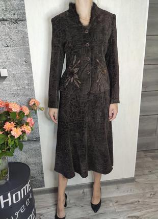 Костюм женский коричневый - юбка и пиджак(1883)