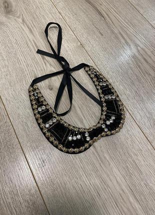 Накладной воротник украшение декор накладной воротник под рубашку zara бижутерия  колье ожерелье подвеска