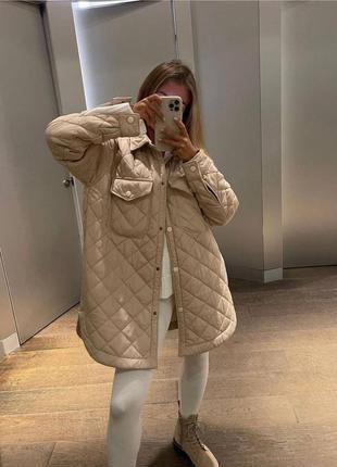 Стёганная куртка рубашка с поясом