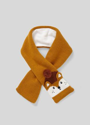 🦊вязаный шарф на флисе мальчику со зверьком c&a 10х80 см