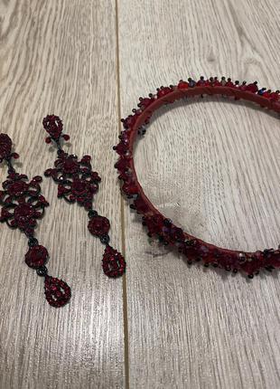 Набор украшение серьги обруч с камней длинные серьги бижутерия ободок обруч на волосы с камнями серьги