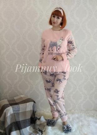 Тепла флісова піжама. женская теплая пижама