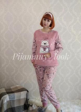 Теплая флисовая пижама. женская теплая пижама