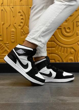Женские кроссовки nike air jordan high s black white, высокие джорданы черно белые