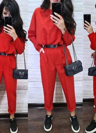 Женский костюм штаны кофта набор прогулочный красный женский костюм