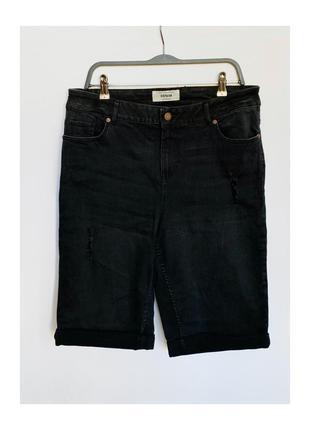 Чёрные джинсовые шорты new look