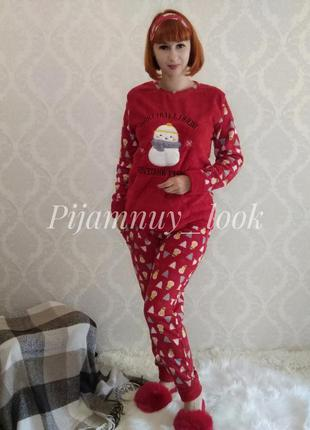 Женская теплая пижама. флисовая пижама для дома