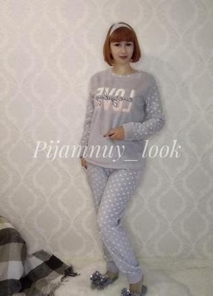 Теплая флисовая пижама. домашний костюм для дома