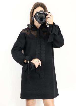 Свободное тёплое платье с начёсом с завязкой