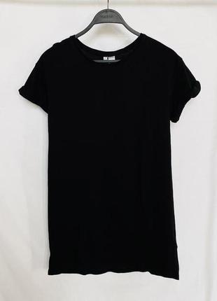 Чёрная удлиненная футболка h&m