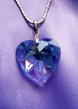 Кулон сердце кристалл сваровски, цепочка с подвеской, медальон, ожерелье