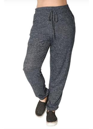 Меланжевые брюки для дома и спорта,высокая посадка