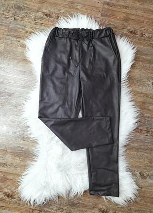 Утипленные кожаные брюки штаны спортивные лосины джинсы высокая посадка