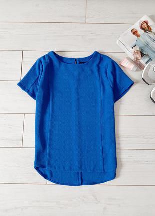 Лаконичная блуза из фактурной ткани _изумительный синий