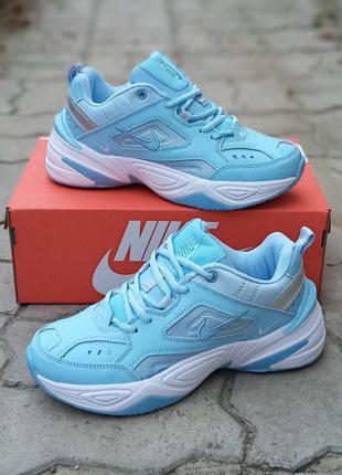 Женские кроссовки nike m2k tekno кожаные.голубые. осенние