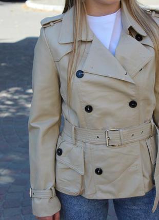 Куртка тренч 2 цвета pu кожа