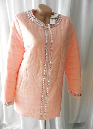 ✅ красивый плащик пальто в камнях демисезон нежно розовый цвет рр 46-48