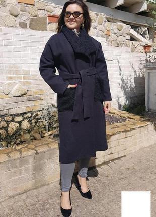 Женская кашемировое пальто карманы букле материал - кашемир, карманы