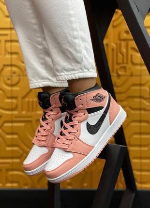 Женские кроссовки nike air jordan   high s pink демисезонные