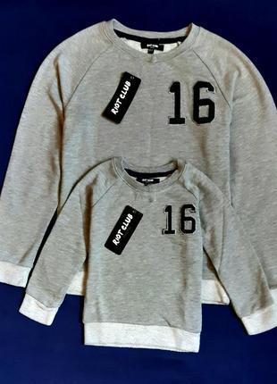 """Серая меланжевая толстовка свитер двунитка  """"riot club"""" англия на 2-3 года и 10-11 лет"""