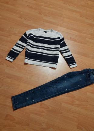 New look вязаный свитшот свитер в полоску синий белый кофта кофточка