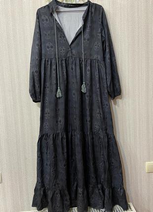 Крутое платье в пол с черепами sheilay