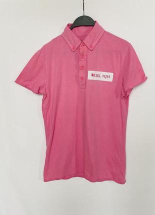 Розовая трикотажная футболка поло diesel оригинал