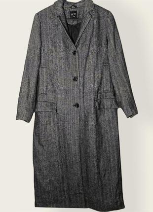 Серое длинное однобортное меланж пальто из смесовой шерсти