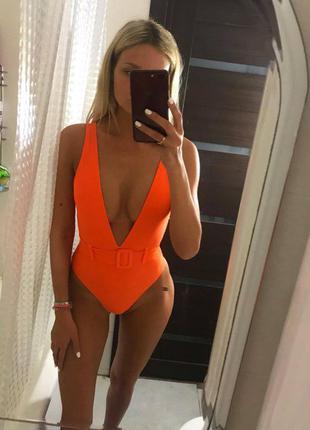 🎀🎀 яркий оранжевый купальник сдельный
