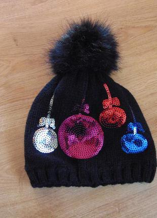 Новогодняя  зимняя шапка на 3-6 лет