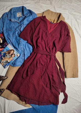 Shein платье бордо бордовое винное марсала вишневое бургунди с поясом в горошек на запах