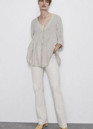 Льняная рубашка блуза бохо zara