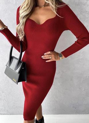 Модные трикотажные платья с роскошным вырезом декольте 😍😍😍в черном и бордовом цвете, плотный трикотаж, высокое качеств