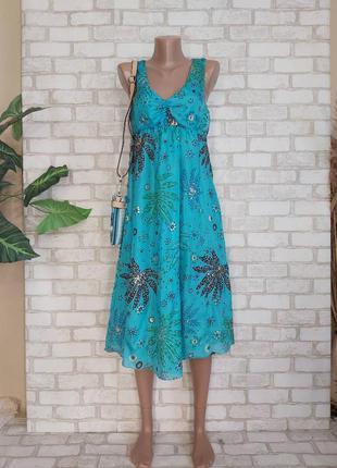 "Новое красочное платье миди/сарафан со 100% шелка в цвете ""бирюза"", размер м-л"