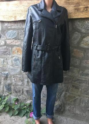 Удлинённая кожаная куртка косуха