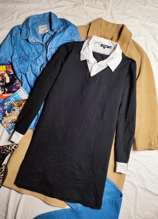 Boohoo платье чёрное с белым воротником прямое трапеция оверсайз свободное с рукавом