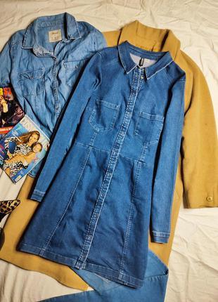H&m платье джинсовое голубое синее большое с длинным рукавом миди