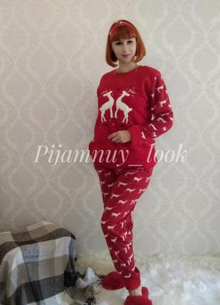 Тепла флісова піжама. жіноча піжама червона